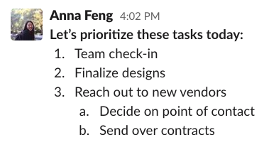 Screenshot of message formatting in Slack with ordered list
