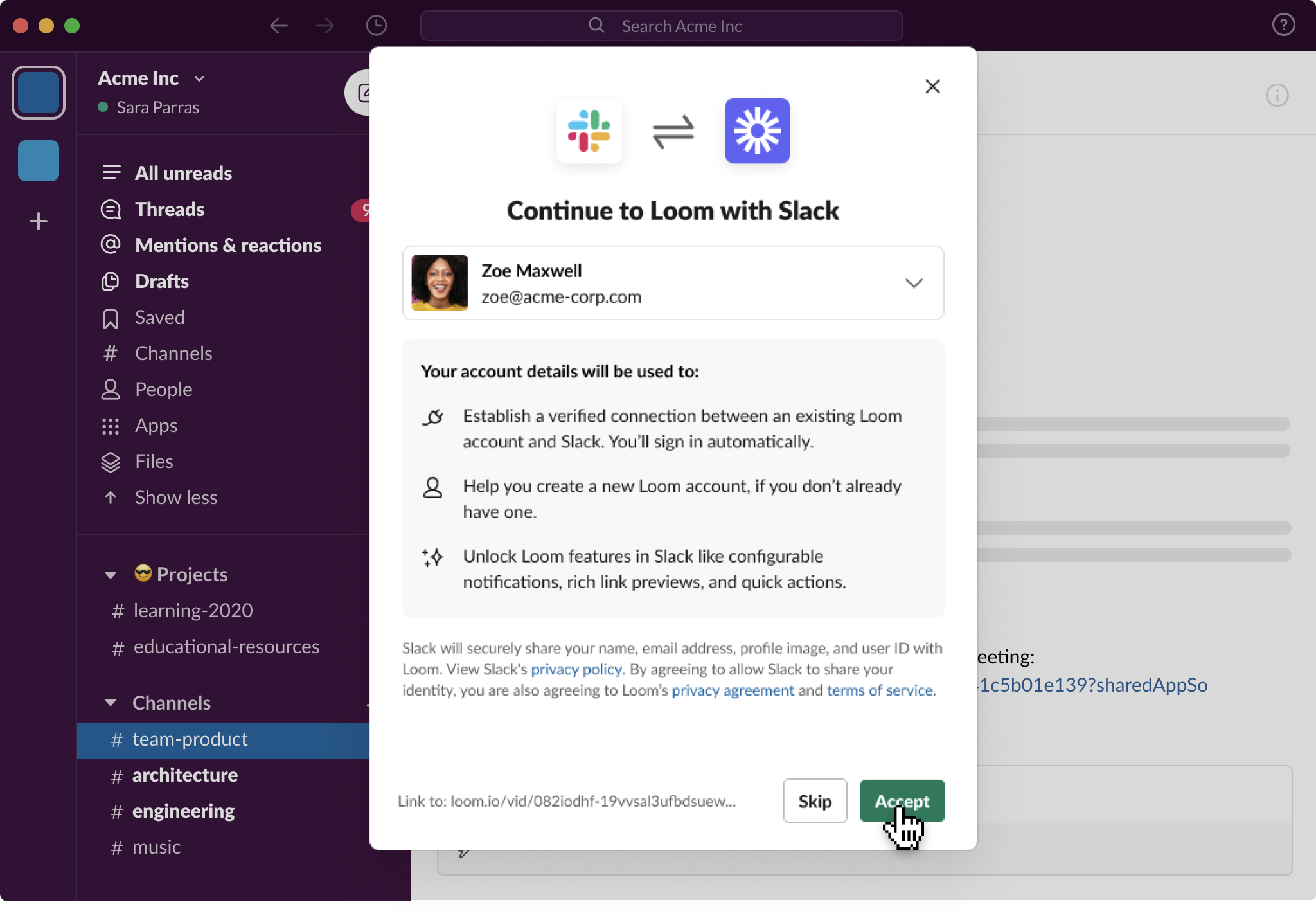 Prompt to grant Loom access to Slack profile information after clicking on a Loom link in Slack