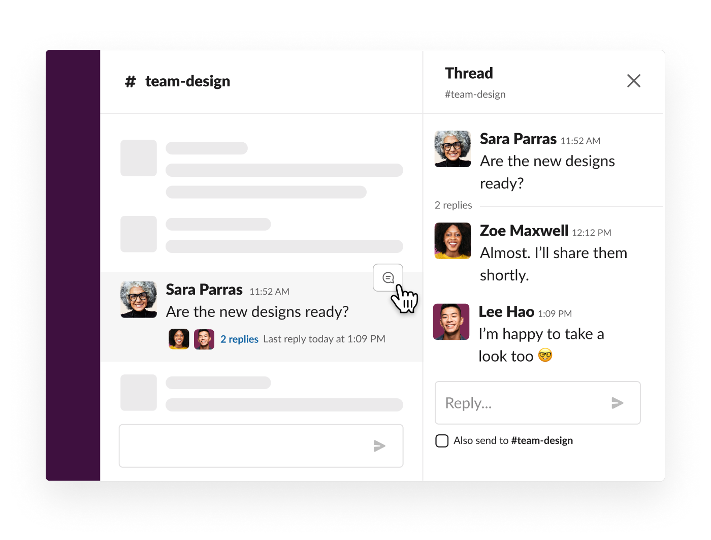 A thread to keep discussion organized in Slack