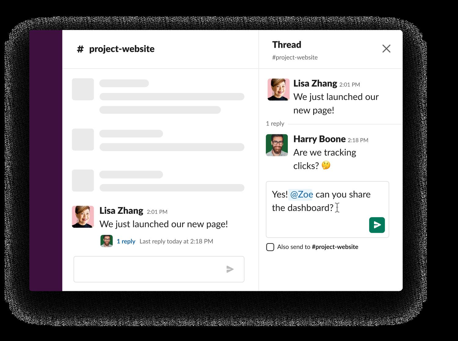 Mentionner un collaborateur dans un fil de discussion pour lui envoyer une notification