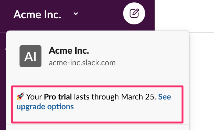 Slack main menu with highlighted text that reads, Your Pro trial lasts until March 25. See upgrade options
