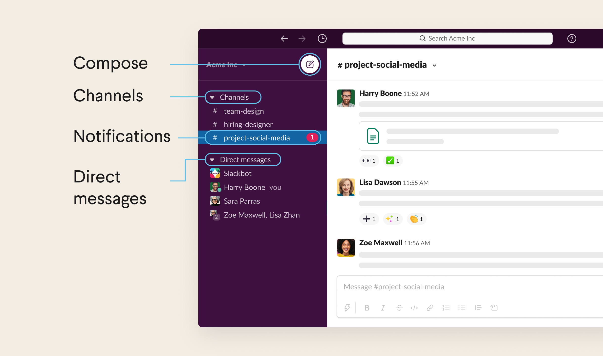 List of channels, direct messages, and notifications in the left sidebar of Slack
