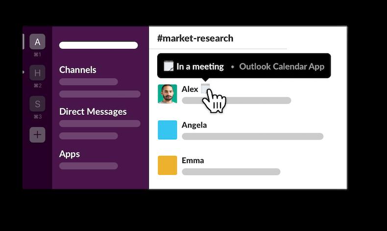 Aplicación Calendario de Outlook en Slack que muestra el estado de un miembro configurado como En una reunión