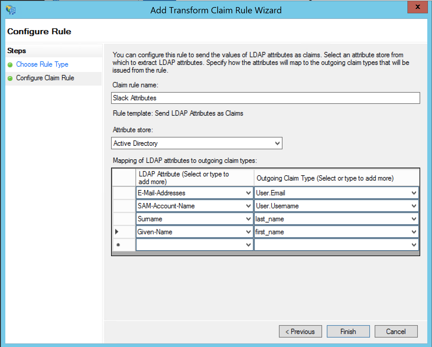 'Configure claim rule' step, showing a list of LDAP attributes and outgoing claim types