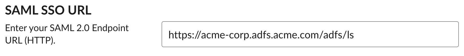 SAML SSO URL and text box with URL entered