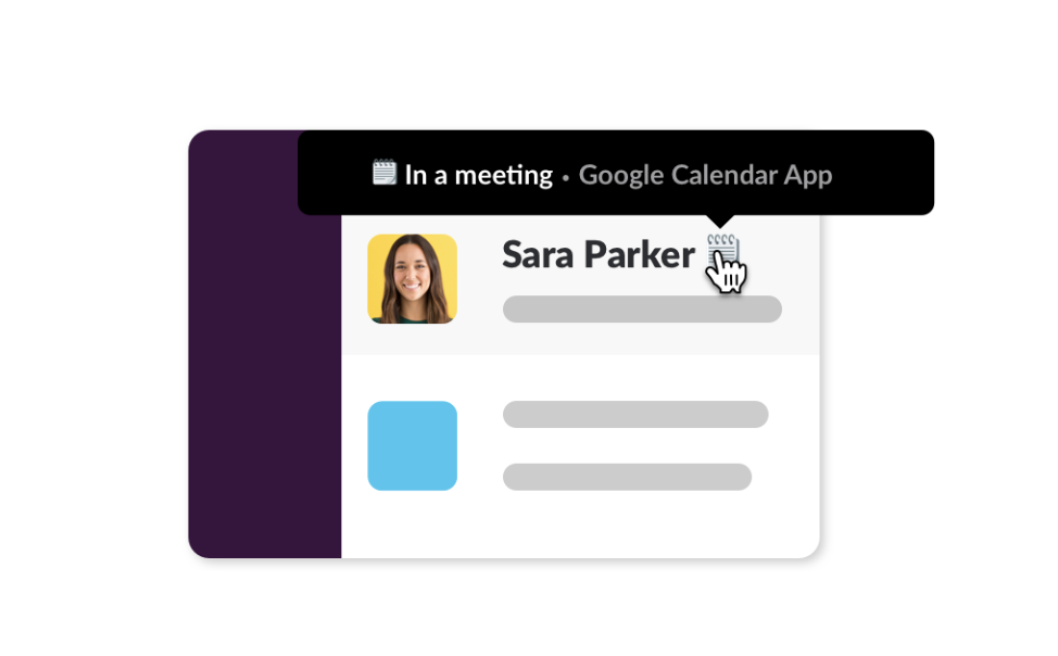 Screenshot of a Google Calendar status displaying on a member's Slack profile