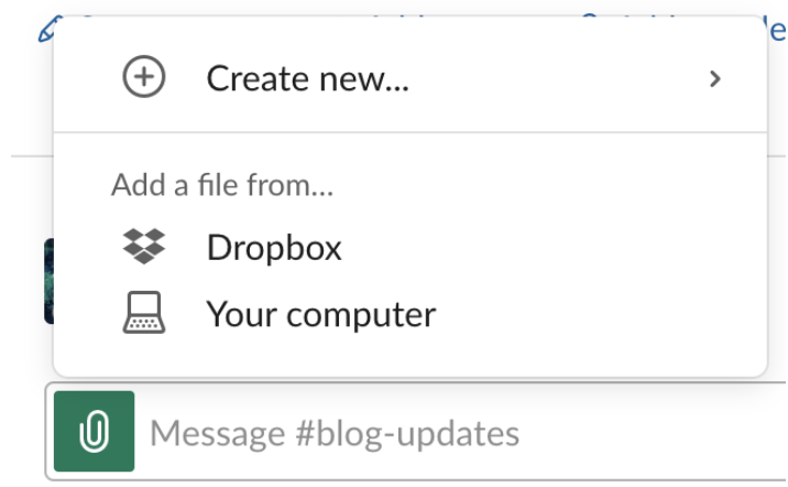 Screenshot of Slack message field wit paperclip icon highlighted and Add to Dropbox text visible