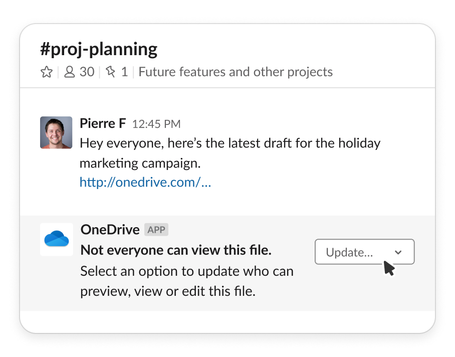 Screenshot of OneDrive file shared in Slack
