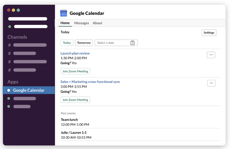 Screenshot of the Home tab in the Google Calendar app displaying a member's schedule for the day