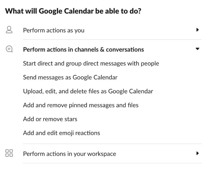 Captura de pantalla de los permisos de la aplicación Google Calendar