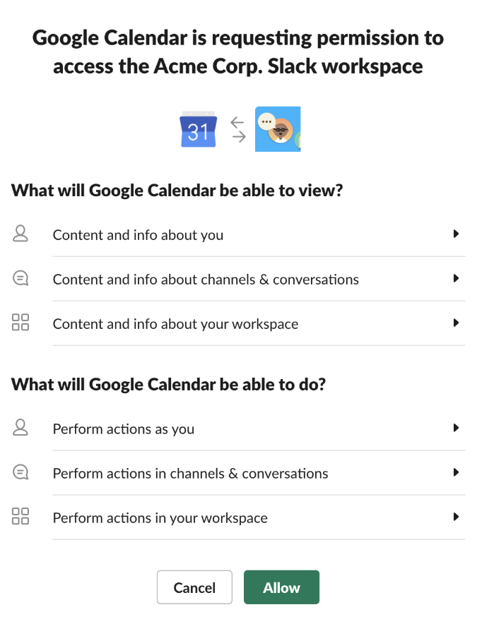 Screenshot of Google Calendar app permissions