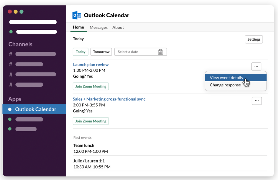 Outlook Calendar app displaying events and their details on the Home tab