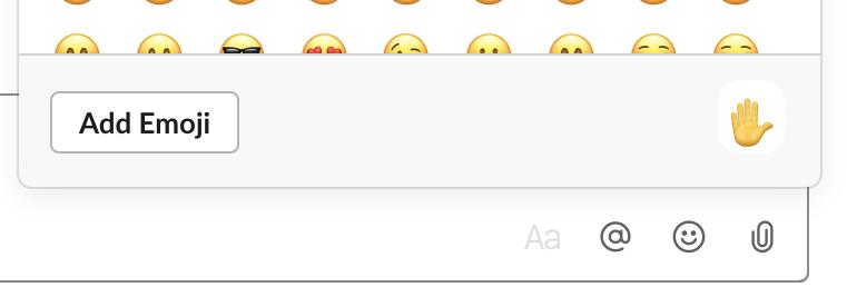Emoji menu showing skin tone selection option