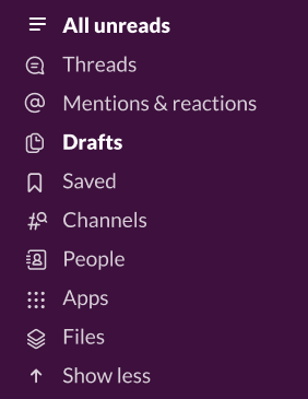 Image of the top of the sidebar on the Slack desktop app