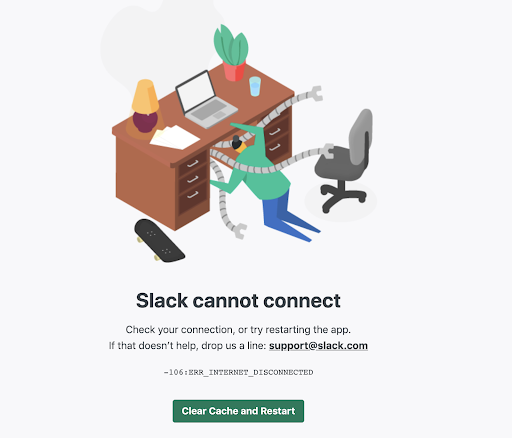 Screenshot of an error message that reads Slack cannot connect