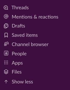 Barra lateral en la app de ordenador de Slack