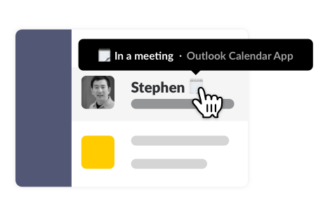 Slack status reflecting that a member is in a meeting, synced from their Outlook Calendar event