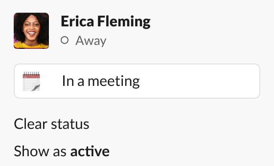 Image showing Erica Fleming's Slack status as in a meeting and availability as away