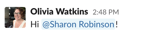 Image showing Sharon Robinson's full name in an @mention in Slack