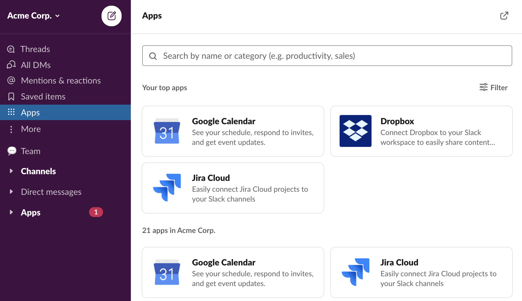 App browser in Slack showing top apps and subset of all available apps in the workspace