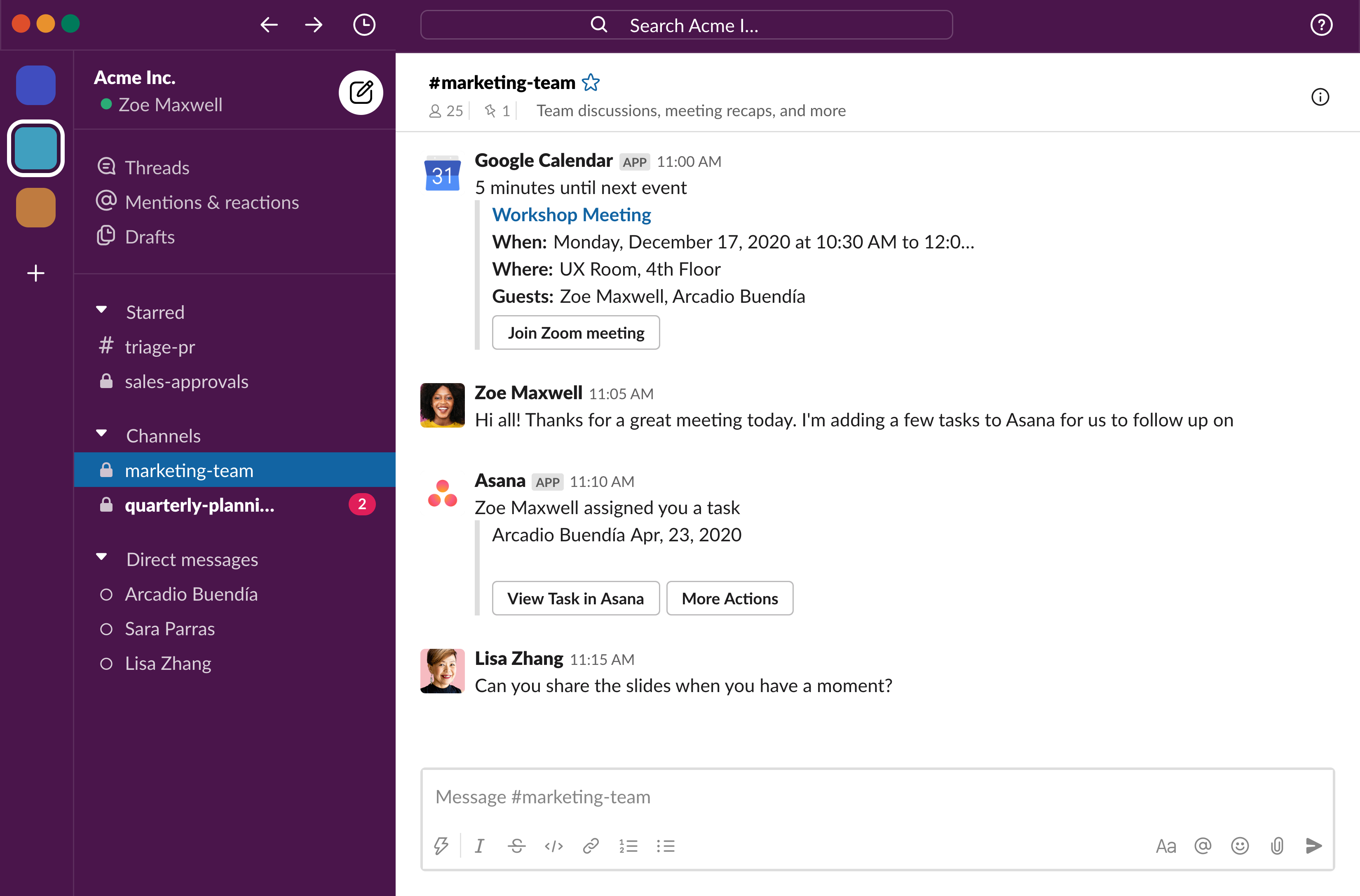 Slack desktop app showing three workspaces you can switch between on the far left side