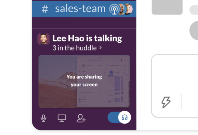A Slack huddle with screen sharing enabled