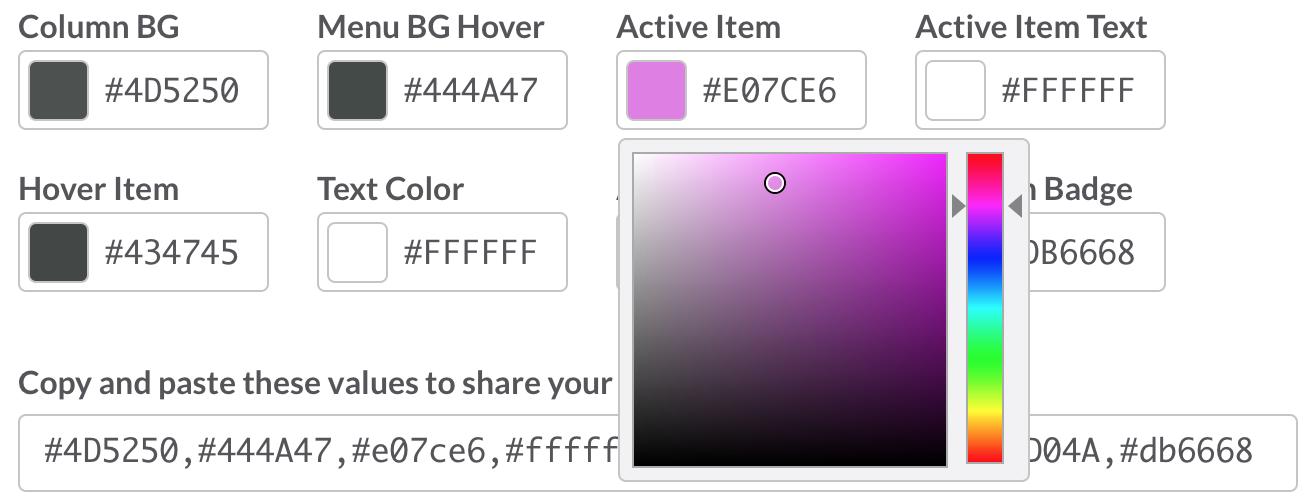 Значения для создания собственной темы оформления в настройках Slack